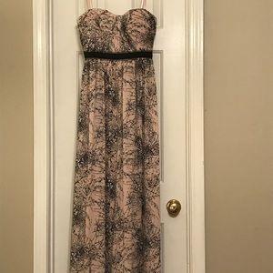 BCBGMaxazaria pink and black strapless gown